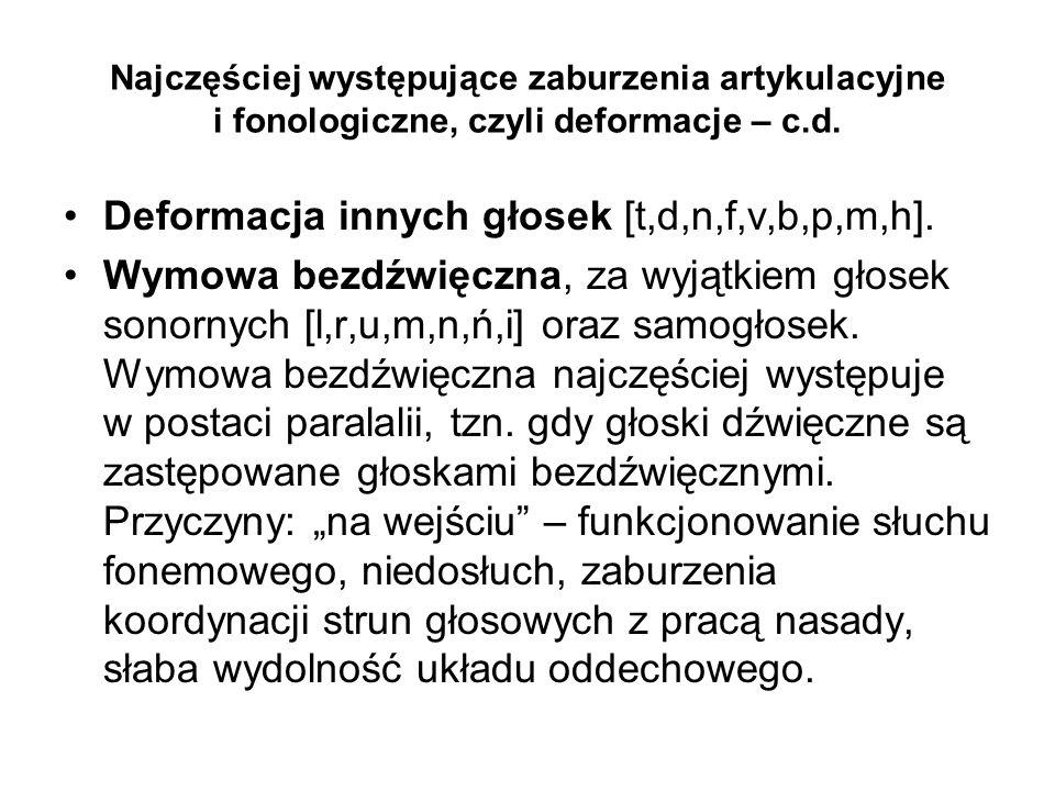 Deformacja innych głosek [t,d,n,f,v,b,p,m,h].